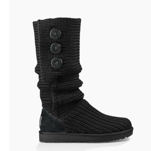 UGG tall knit black button boots